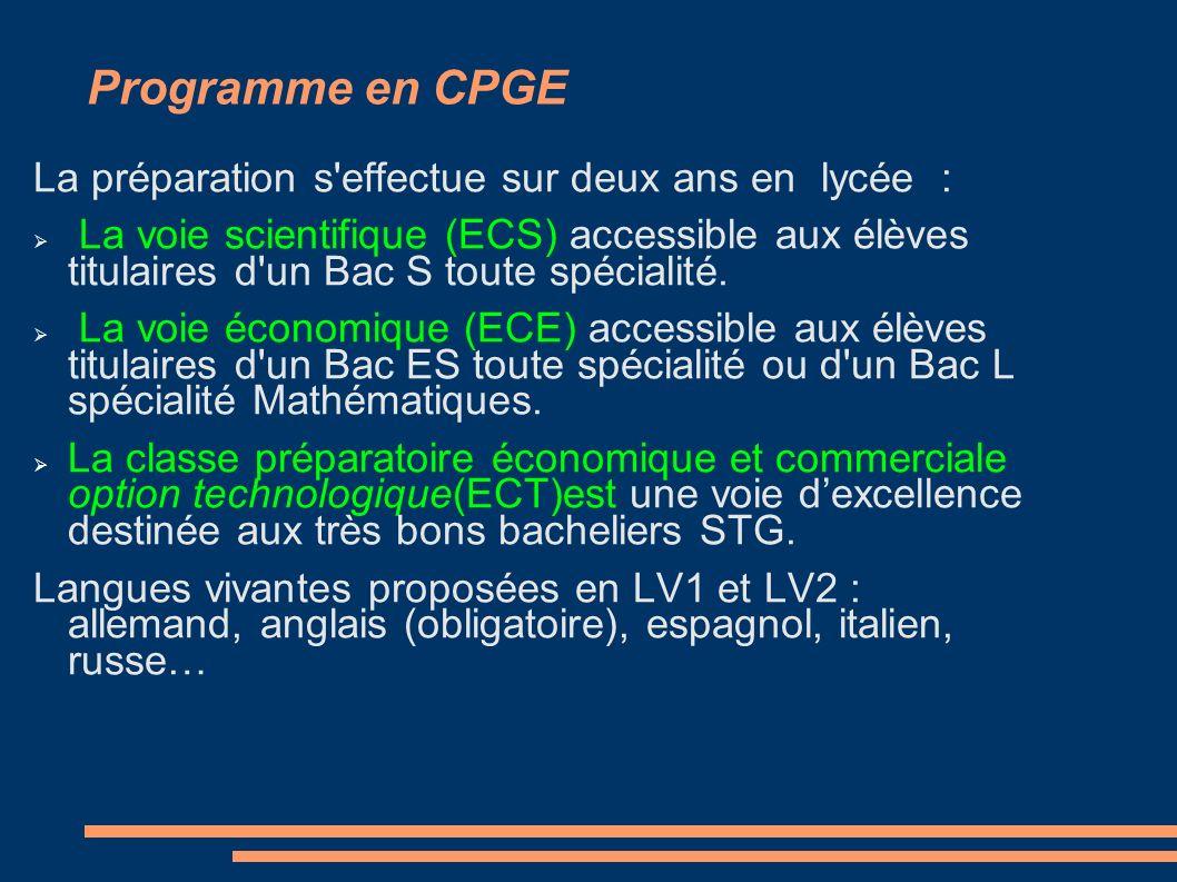 Programme en CPGE La préparation s'effectue sur deux ans en lycée : La voie scientifique (ECS) accessible aux élèves titulaires d'un Bac S toute spéci