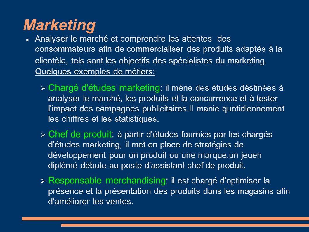 Marketing Analyser le marché et comprendre les attentes des consommateurs afin de commercialiser des produits adaptés à la clientèle, tels sont les ob