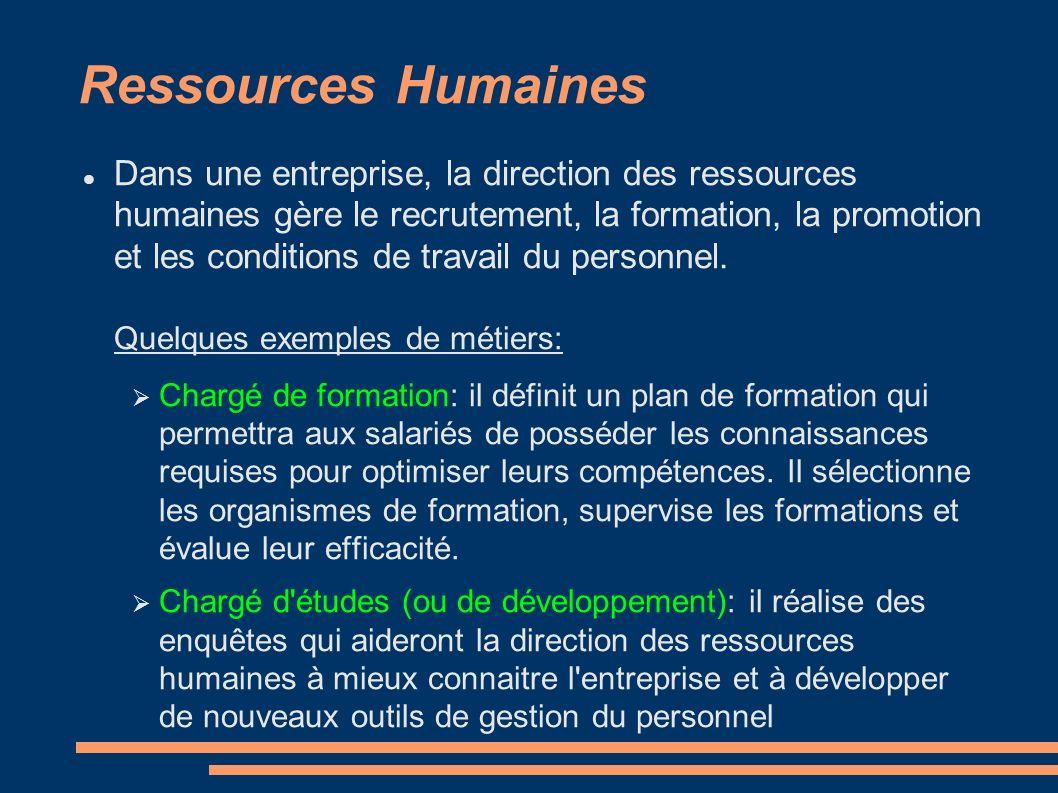 Ressources Humaines Dans une entreprise, la direction des ressources humaines gère le recrutement, la formation, la promotion et les conditions de travail du personnel.