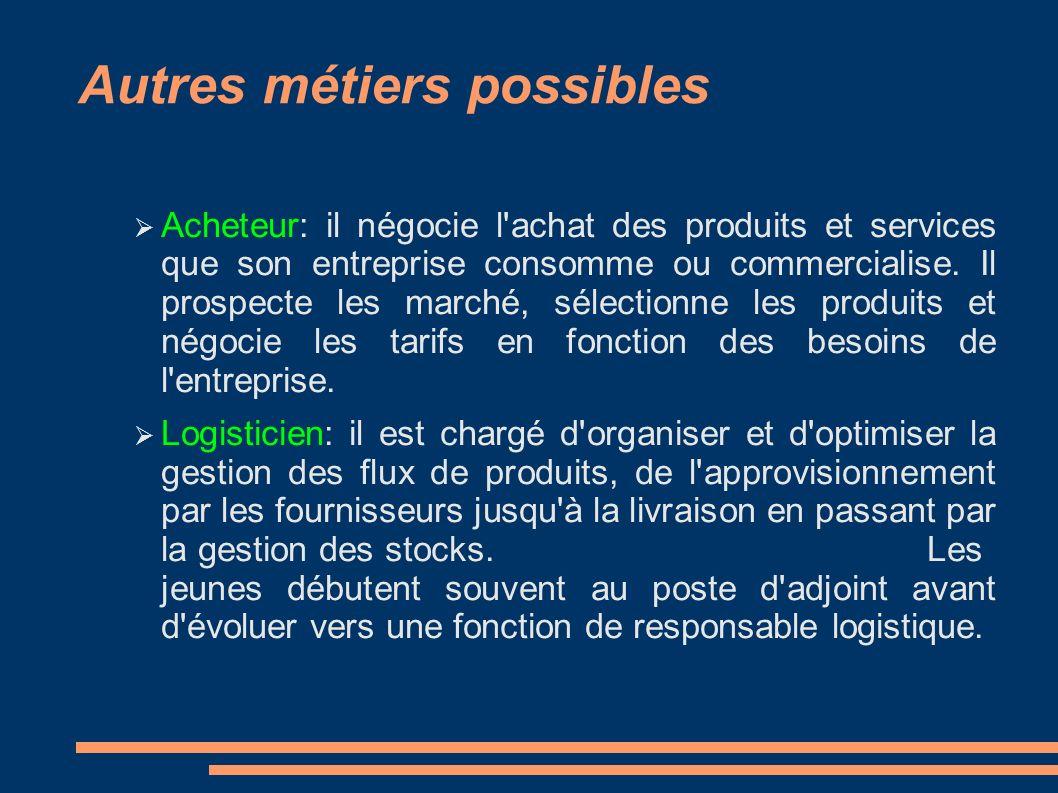 Autres métiers possibles Acheteur: il négocie l'achat des produits et services que son entreprise consomme ou commercialise. Il prospecte les marché,