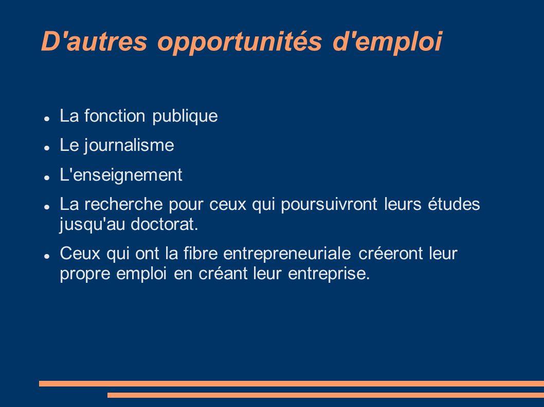 D'autres opportunités d'emploi La fonction publique Le journalisme L'enseignement La recherche pour ceux qui poursuivront leurs études jusqu'au doctor