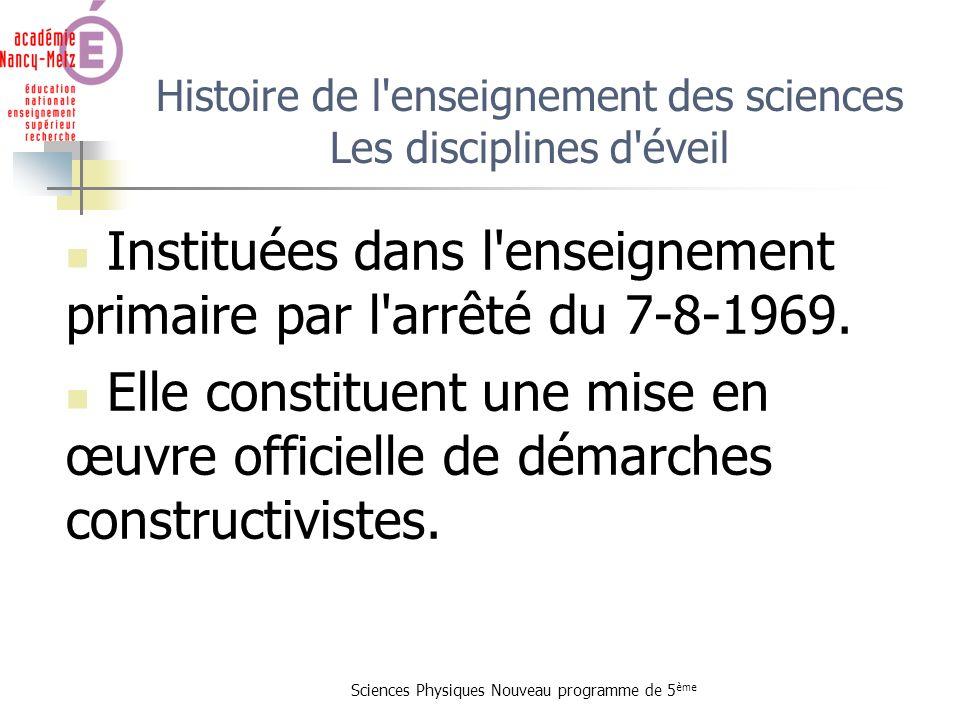 Sciences Physiques Nouveau programme de 5 ème Histoire de l'enseignement des sciences Les disciplines d'éveil Instituées dans l'enseignement primaire