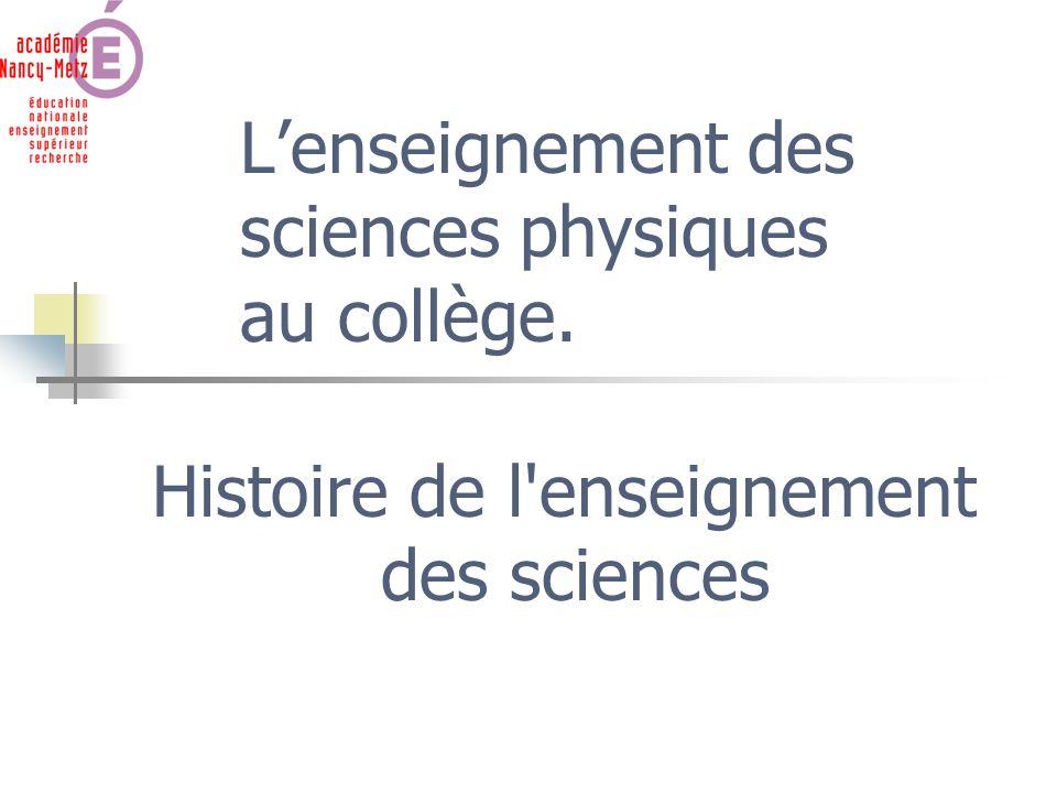 Histoire de l'enseignement des sciences