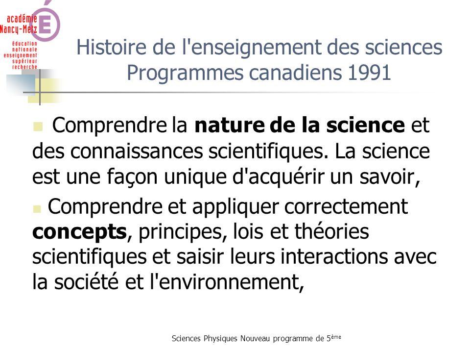Sciences Physiques Nouveau programme de 5 ème Histoire de l'enseignement des sciences Programmes canadiens 1991 Comprendre la nature de la science et