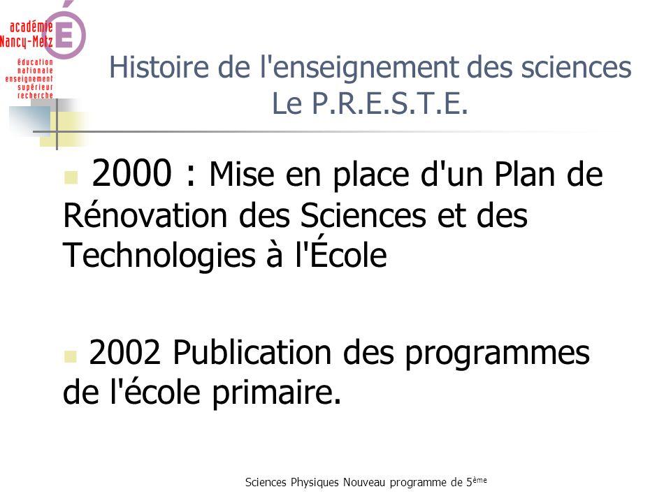 Sciences Physiques Nouveau programme de 5 ème Histoire de l'enseignement des sciences Le P.R.E.S.T.E. 2000 : Mise en place d'un Plan de Rénovation des