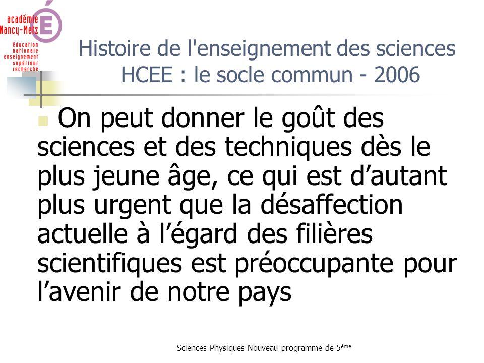 Sciences Physiques Nouveau programme de 5 ème Histoire de l'enseignement des sciences HCEE : le socle commun - 2006 On peut donner le goût des science
