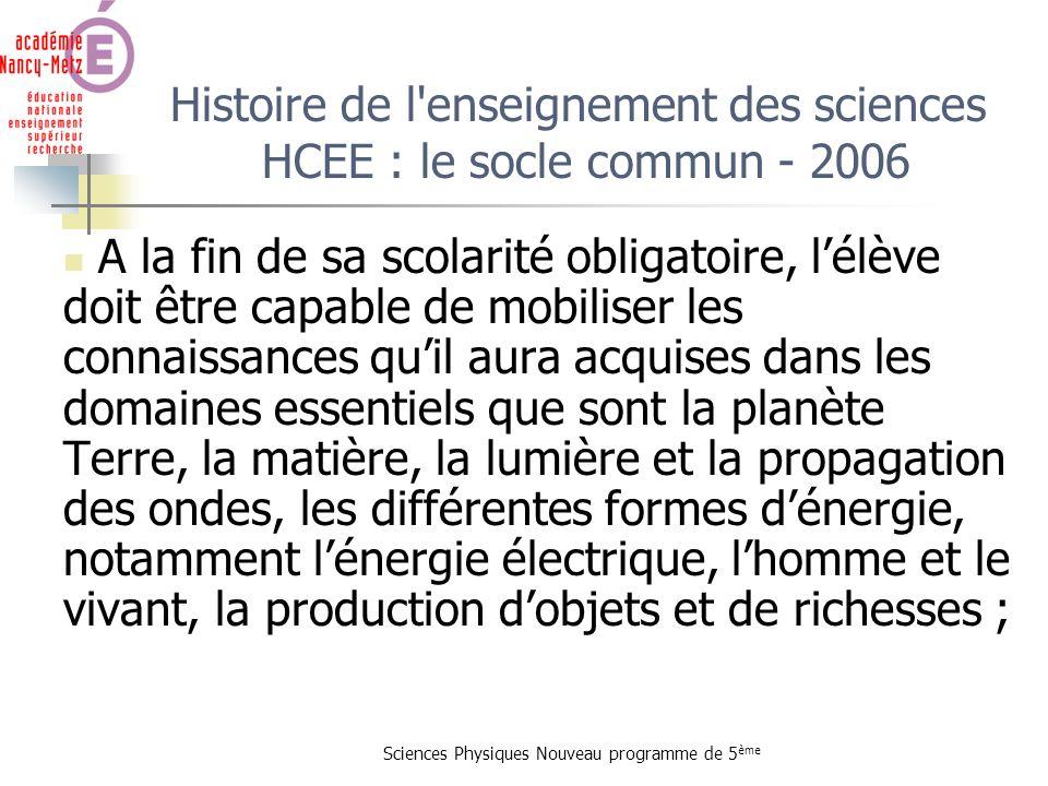Sciences Physiques Nouveau programme de 5 ème Histoire de l'enseignement des sciences HCEE : le socle commun - 2006 A la fin de sa scolarité obligatoi