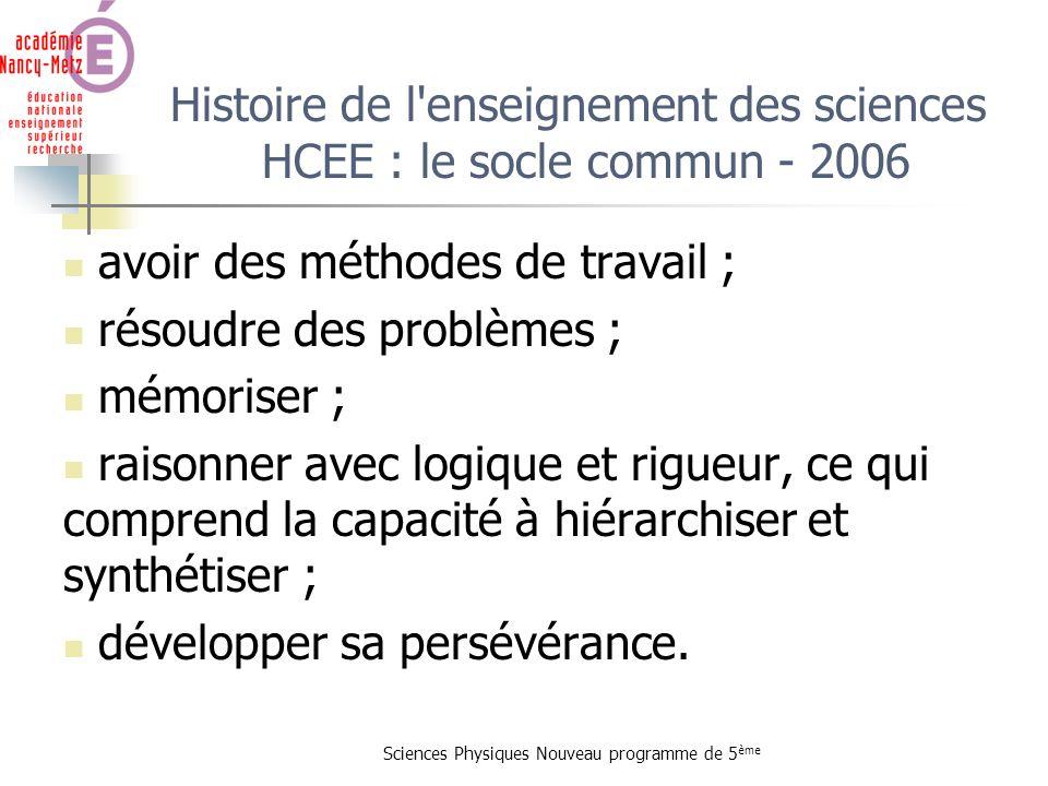 Sciences Physiques Nouveau programme de 5 ème Histoire de l'enseignement des sciences HCEE : le socle commun - 2006 avoir des méthodes de travail ; ré