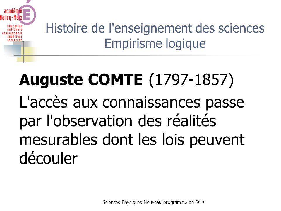Sciences Physiques Nouveau programme de 5 ème Histoire de l'enseignement des sciences Empirisme logique Auguste COMTE (1797-1857) L'accès aux connaiss