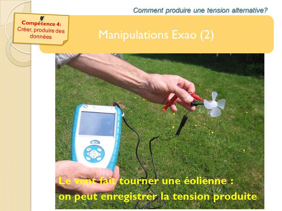 Manipulations Exao (2) Comment produire une tension alternative? Le vent fait tourner une éolienne : on peut enregistrer la tension produite