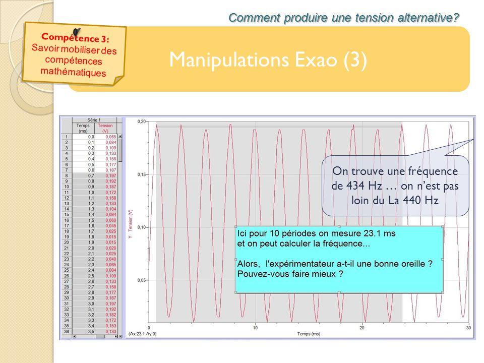 Manipulations Exao (3) Comment produire une tension alternative? On trouve une fréquence de 434 Hz … on nest pas loin du La 440 Hz