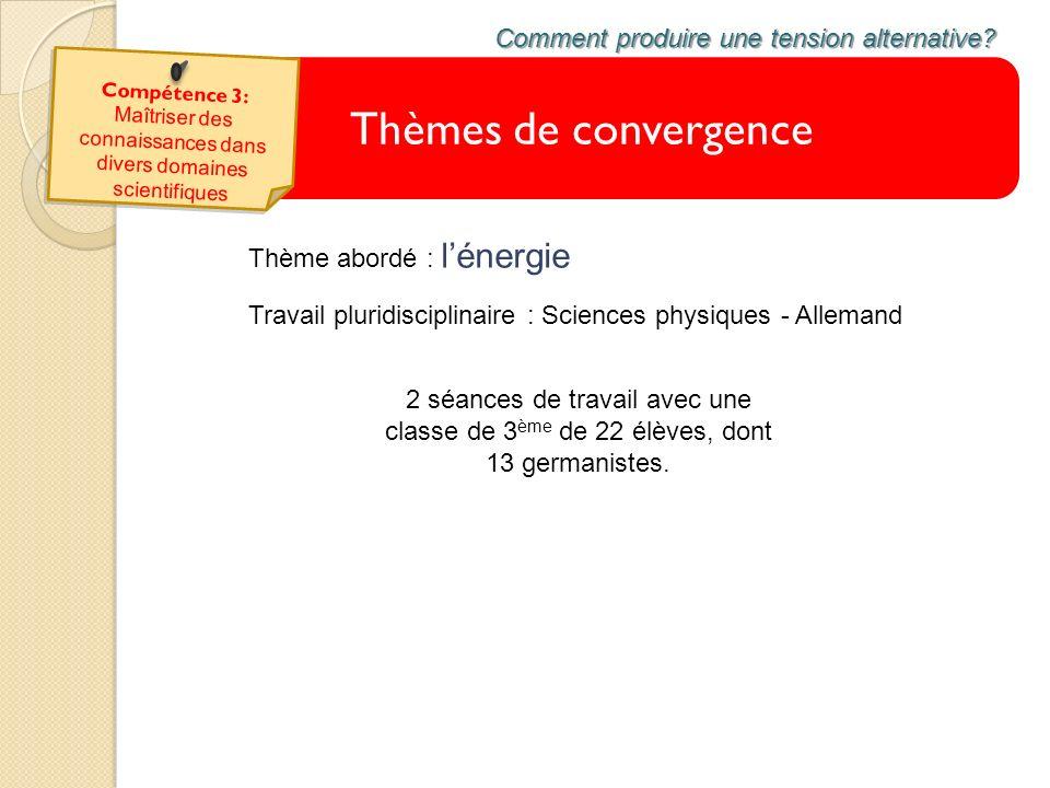 Thèmes de convergence Comment produire une tension alternative? Travail pluridisciplinaire : Sciences physiques - Allemand 2 séances de travail avec u