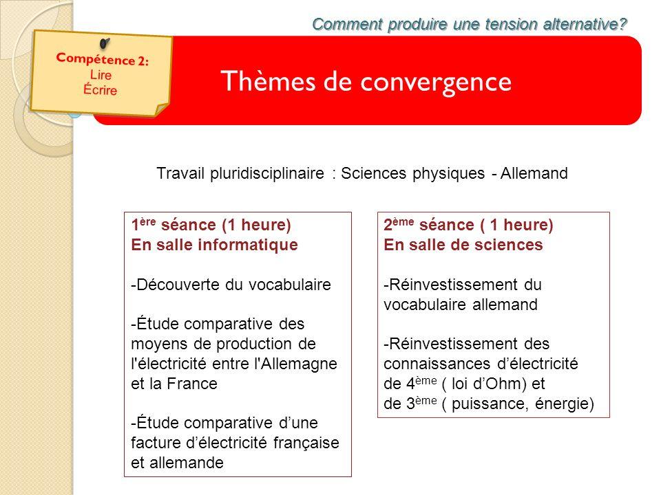 Thèmes de convergence Comment produire une tension alternative? Travail pluridisciplinaire : Sciences physiques - Allemand 1 ère séance (1 heure) En s