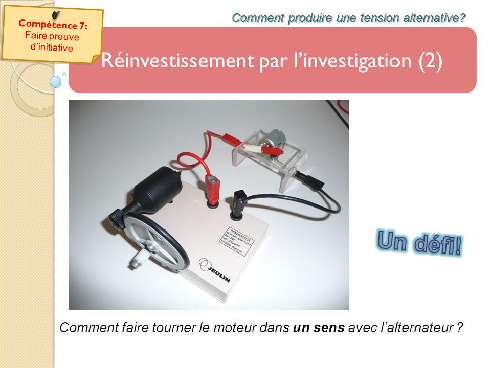 Réinvestissement par linvestigation (2) Comment produire une tension alternative? Comment faire tourner le moteur dans un sens avec lalternateur ?