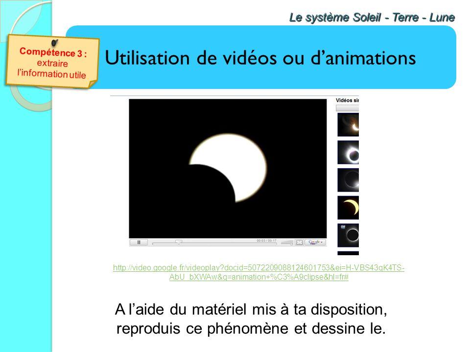Utilisation de vidéos ou danimations Le système Soleil - Terre - Lune Vidéo C'est Pas Sorcier Les sorciers décrochent la lune