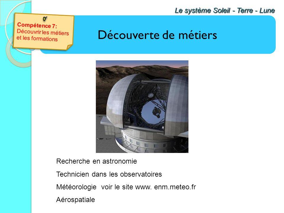 Découverte de métiers Le système Soleil - Terre - Lune En classe de cinquième, première approche du logiciel GPO qui permet de découvrir des métiers l
