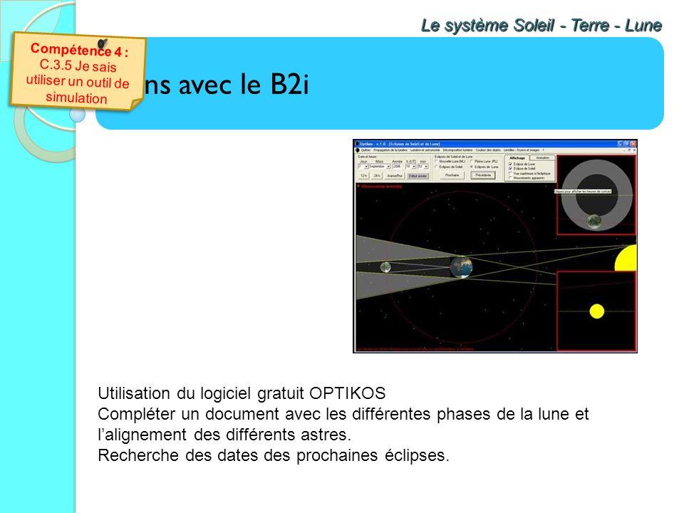 Liens avec le B2i Le système Soleil - Terre - Lune A laide des données obtenues le 11 août 1999, trace le graphique de la luminosité en fonction du te