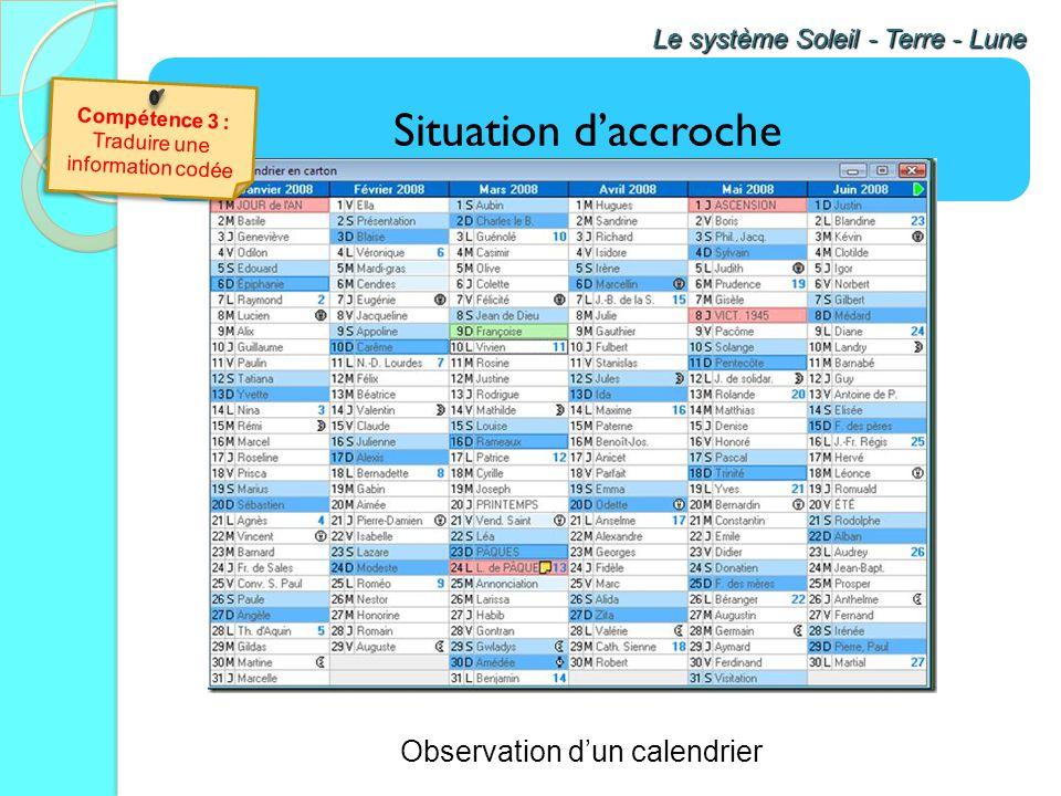 Situation daccroche Le système Soleil - Terre - Lune Observation dun calendrier