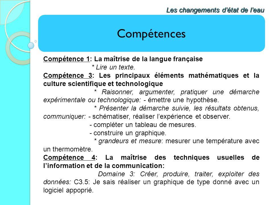 Compétences Les changements détat de leau Compétence 1: La maîtrise de la langue française * Lire un texte. Compétence 3: Les principaux éléments math