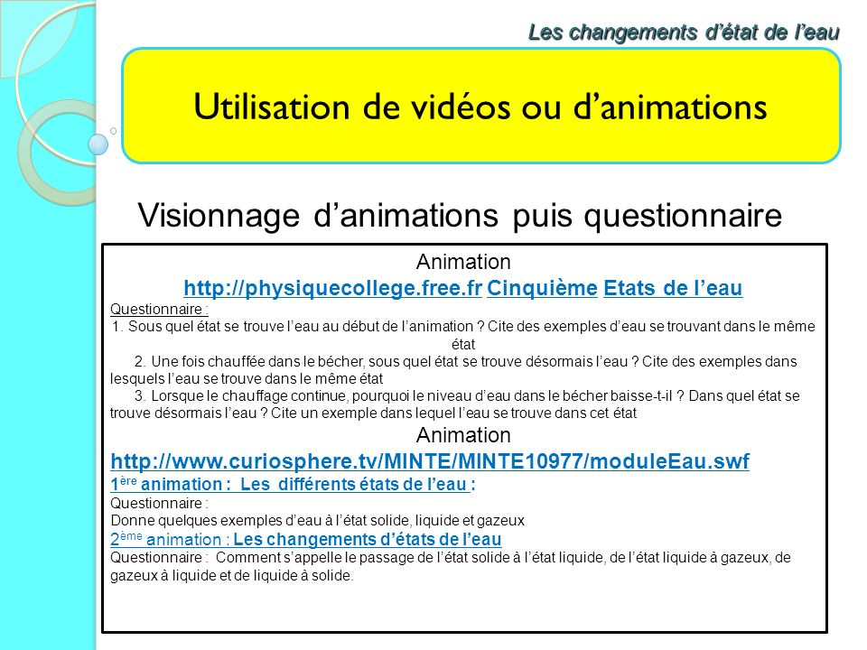 Utilisation de vidéos ou danimations Visionnage danimations puis questionnaire Les changements détat de leau Animation http://physiquecollege.free.fr