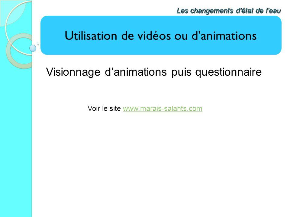 Utilisation de vidéos ou danimations Visionnage danimations puis questionnaire Les changements détat de leau Voir le site www.marais-salants.comwww.ma