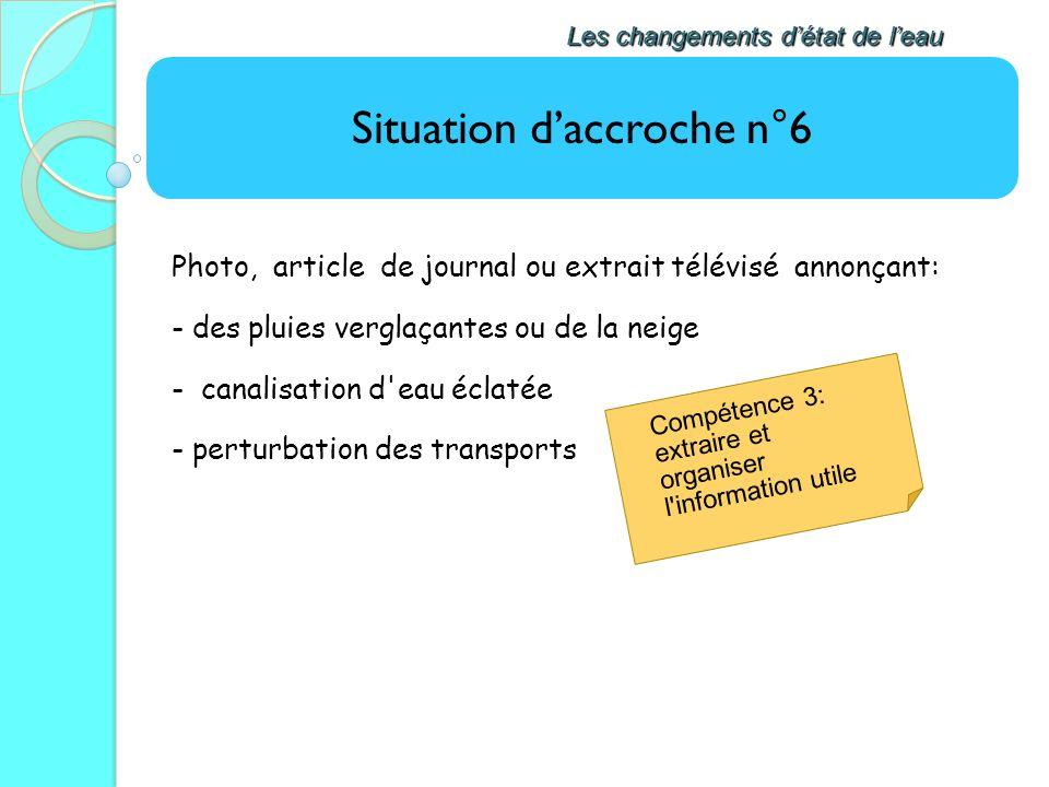Situation daccroche n°6 Les changements détat de leau Photo, article de journal ou extrait télévisé annonçant: - des pluies verglaçantes ou de la neig