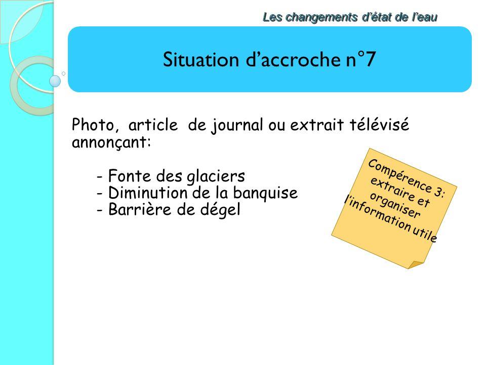 Situation daccroche n°7 Les changements détat de leau Photo, article de journal ou extrait télévisé annonçant: - Fonte des glaciers - Diminution de la