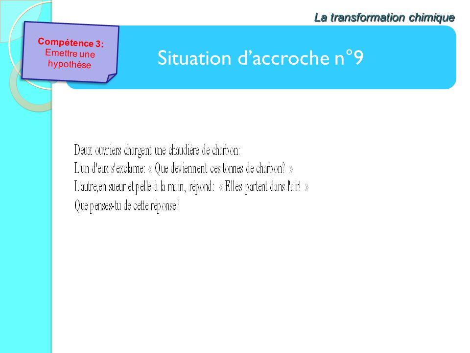 Situation daccroche n°9 La transformation chimique Compétence 3: Emettre une hypothèse Compétence 3: Emettre une hypothèse