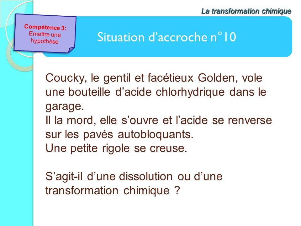 Situation daccroche n°10 La transformation chimique Coucky, le gentil et facétieux Golden, vole une bouteille dacide chlorhydrique dans le garage. Il