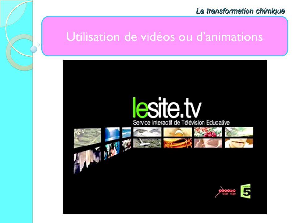 Utilisation de vidéos ou danimations La transformation chimique