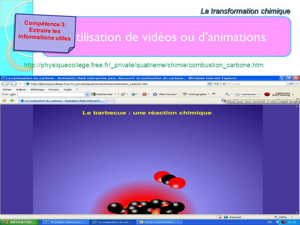 Utilisation de vidéos ou danimations La transformation chimique http://physiquecollege.free.fr/_private/quatrieme/chimie/combustion_carbone.htm Compét