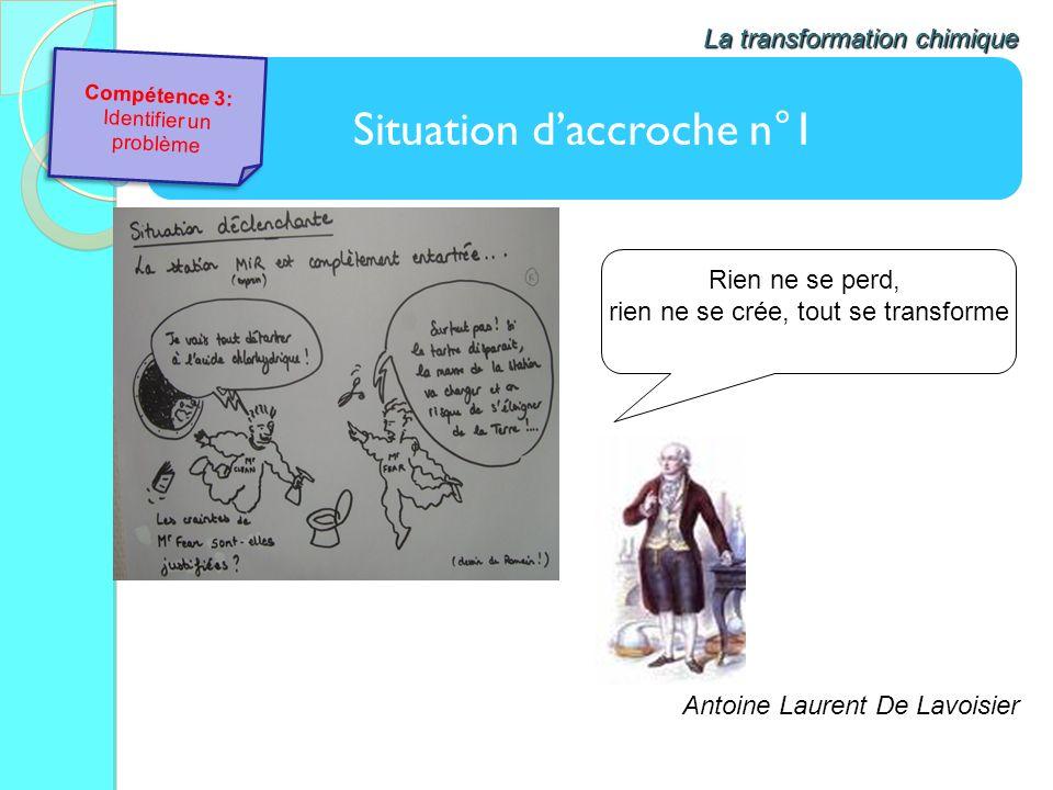 Situation daccroche n°1 La transformation chimique Rien ne se perd, rien ne se crée, tout se transforme Antoine Laurent De Lavoisier Compétence 3: Ide