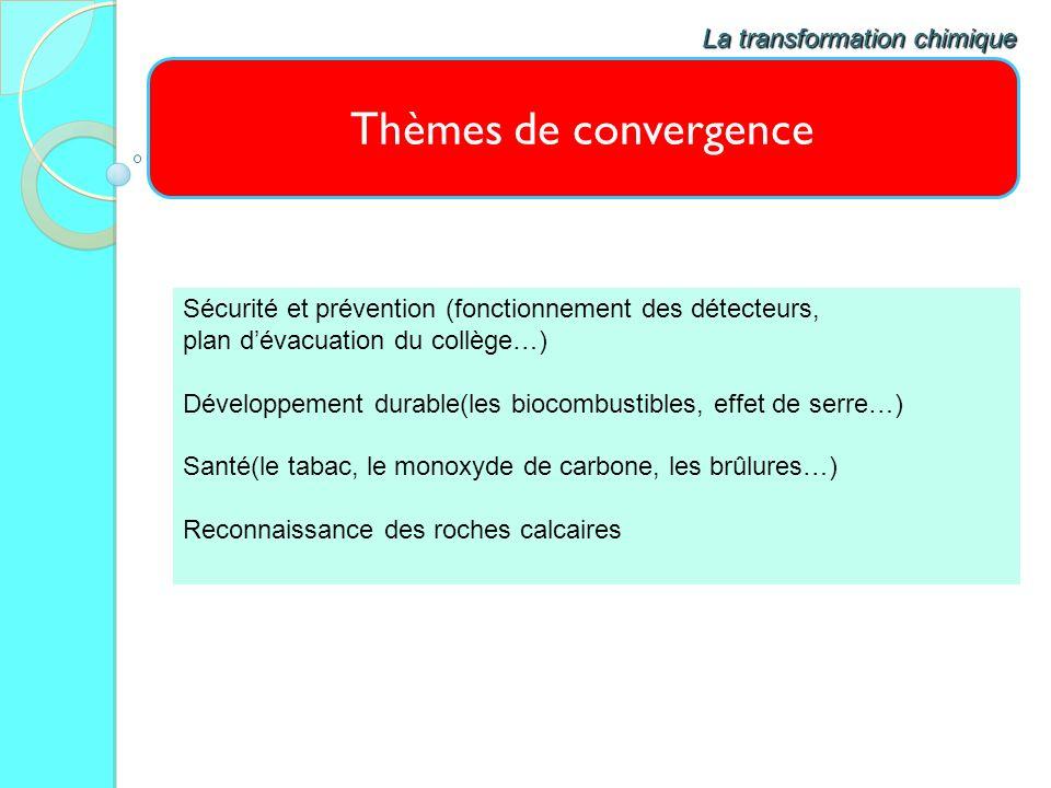 Thèmes de convergence La transformation chimique Sécurité et prévention (fonctionnement des détecteurs, plan dévacuation du collège…) Développement du