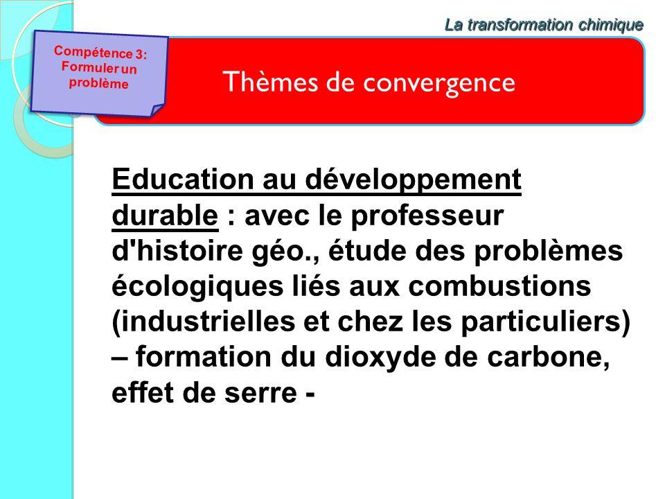 Thèmes de convergence La transformation chimique Education au développement durable : avec le professeur d'histoire géo., étude des problèmes écologiq