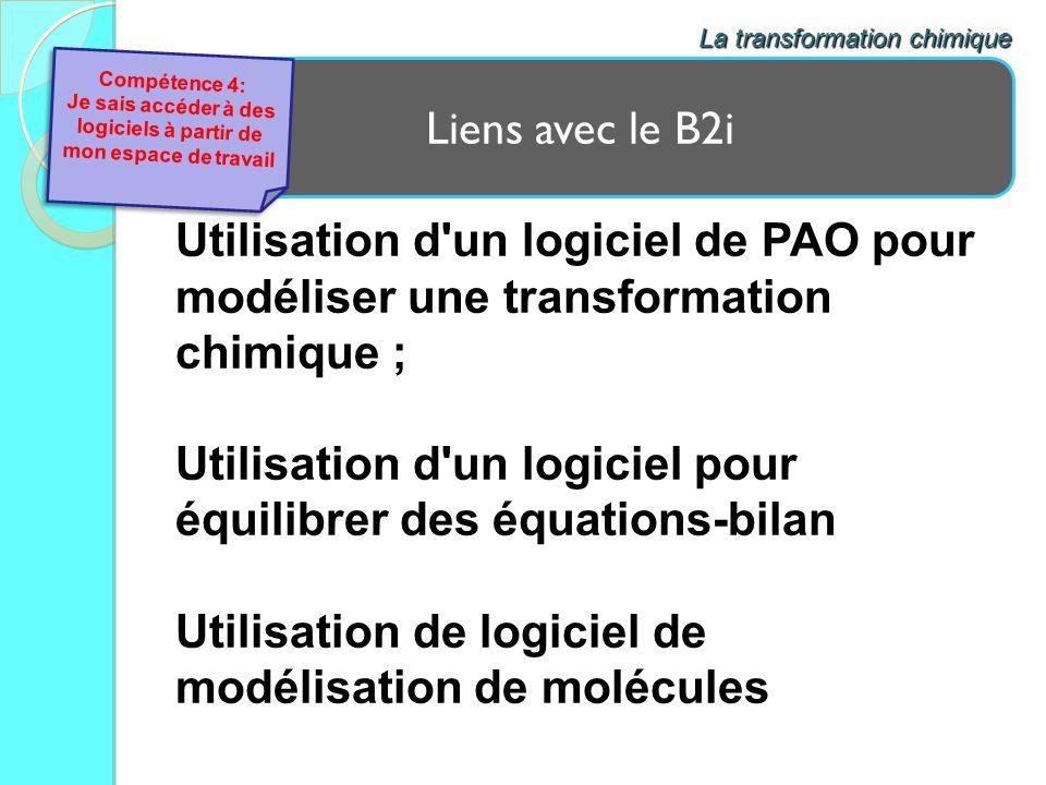 Liens avec le B2i La transformation chimique Utilisation d'un logiciel de PAO pour modéliser une transformation chimique ; Utilisation d'un logiciel p