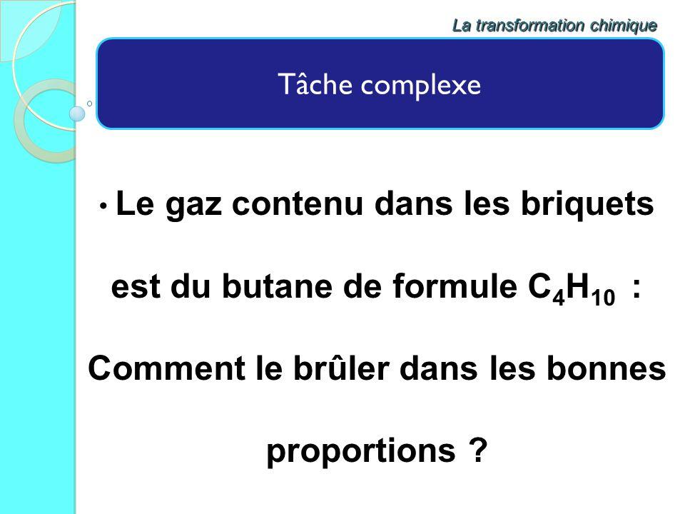 Tâche complexe Le gaz contenu dans les briquets est du butane de formule C 4 H 10 : Comment le brûler dans les bonnes proportions ? La transformation