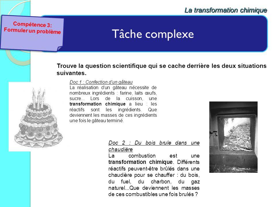 Tâche complexe La transformation chimique Doc 2 : Du bois brule dans une chaudière La combustion est une transformation chimique. Différents réactifs