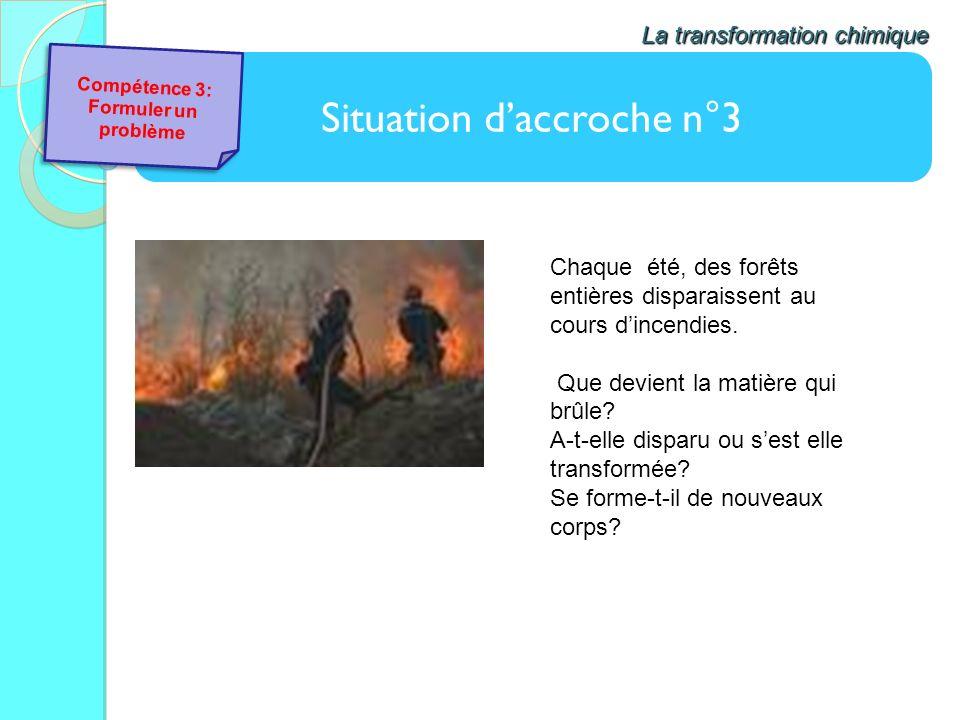 Situation daccroche n°3 La transformation chimique Chaque été, des forêts entières disparaissent au cours dincendies. Que devient la matière qui brûle