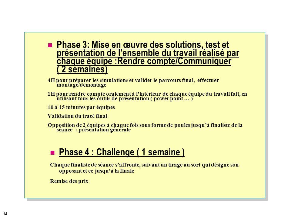 13 Planning prévisionnel ( voir dates sur dossier : 7 semaines ) Organisation du mini-projet : Phase 1 : présentation générale (1 semaine) Présentatio