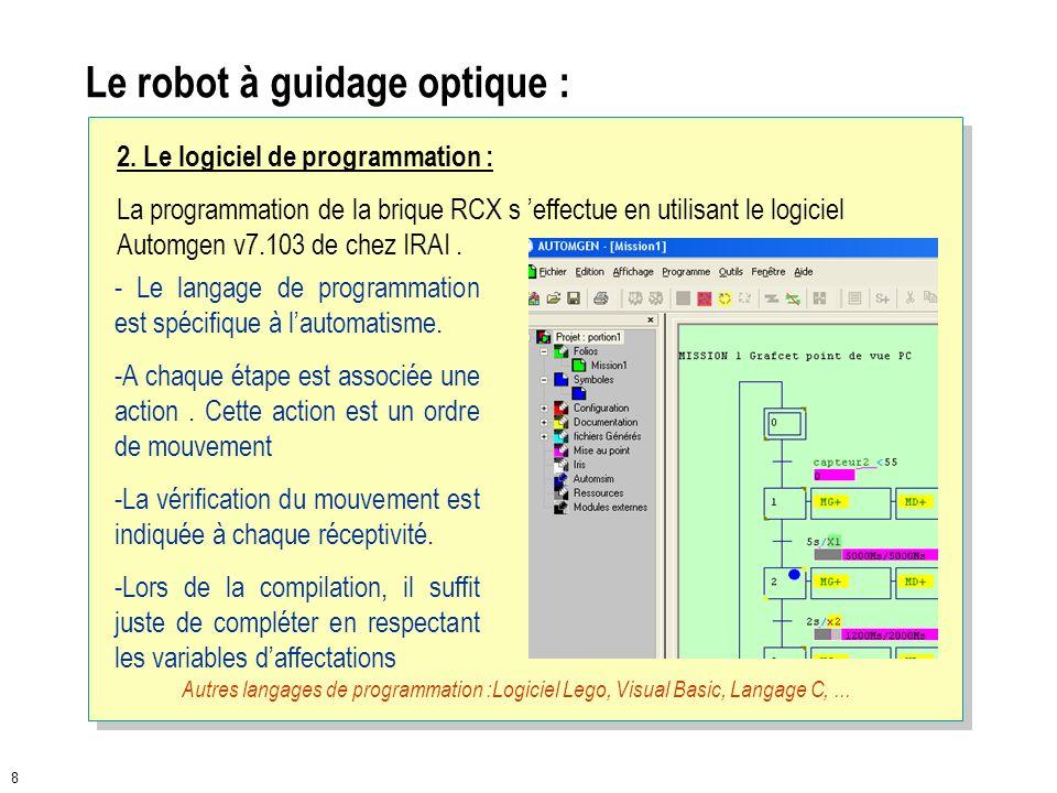 7 Le robot à guidage optique : LEGO MINDSTROMS « Robotics Invention System 2.0 » permet de construire et de programmer des robots : 1. La partie comma