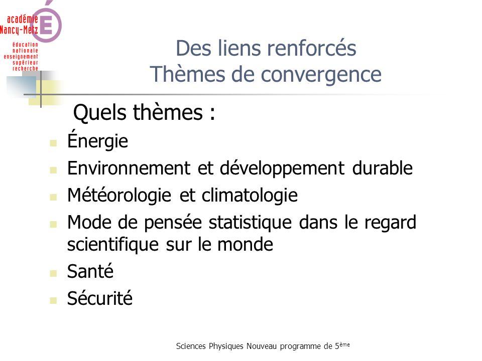 Sciences Physiques Nouveau programme de 5 ème Quels thèmes : Énergie Environnement et développement durable Météorologie et climatologie Mode de pensé