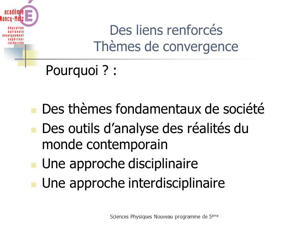 Sciences Physiques Nouveau programme de 5 ème Pourquoi ? : Des thèmes fondamentaux de société Des outils danalyse des réalités du monde contemporain U