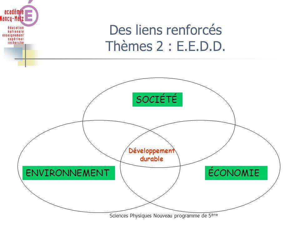 Sciences Physiques Nouveau programme de 5 ème Des liens renforcés Thèmes 2 : E.E.D.D. ENVIRONNEMENT SOCIÉTÉ ÉCONOMIE Développement durable