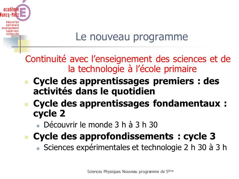 Sciences Physiques Nouveau programme de 5 ème Continuité avec lenseignement des sciences et de la technologie à lécole primaire Cycle des apprentissag