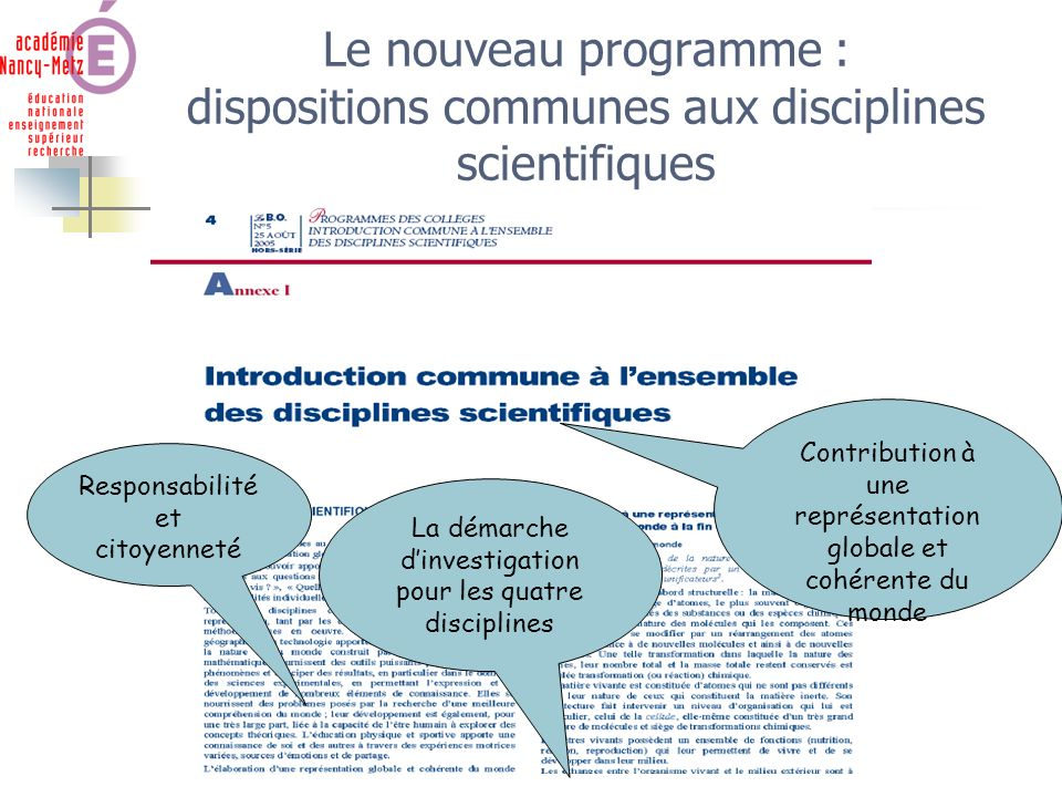 Sciences Physiques Nouveau programme de 5 ème Le nouveau programme : dispositions communes aux disciplines scientifiques Contribution à une représenta