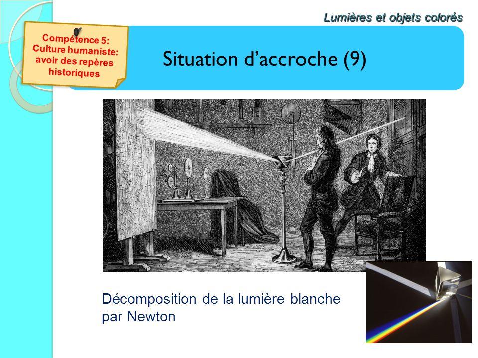 Situation daccroche (9) Lumières et objets colorés Décomposition de la lumière blanche par Newton