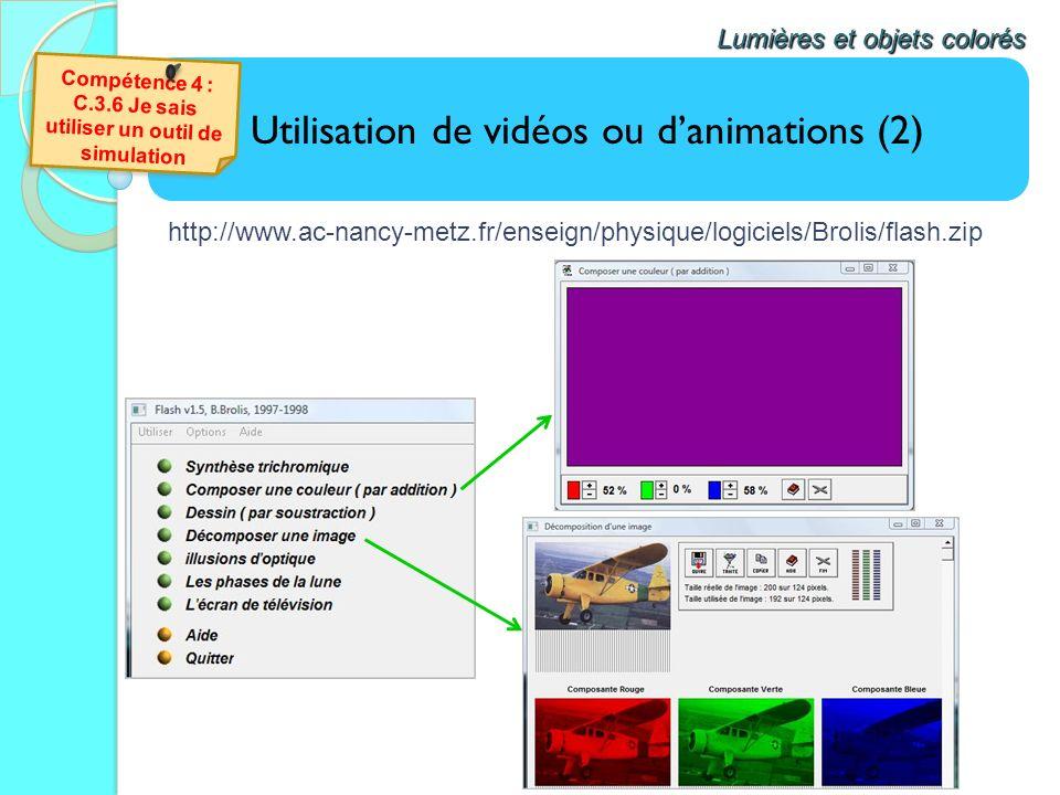 Utilisation de vidéos ou danimations (2) Lumières et objets colorés http://www.ac-nancy-metz.fr/enseign/physique/logiciels/Brolis/flash.zip