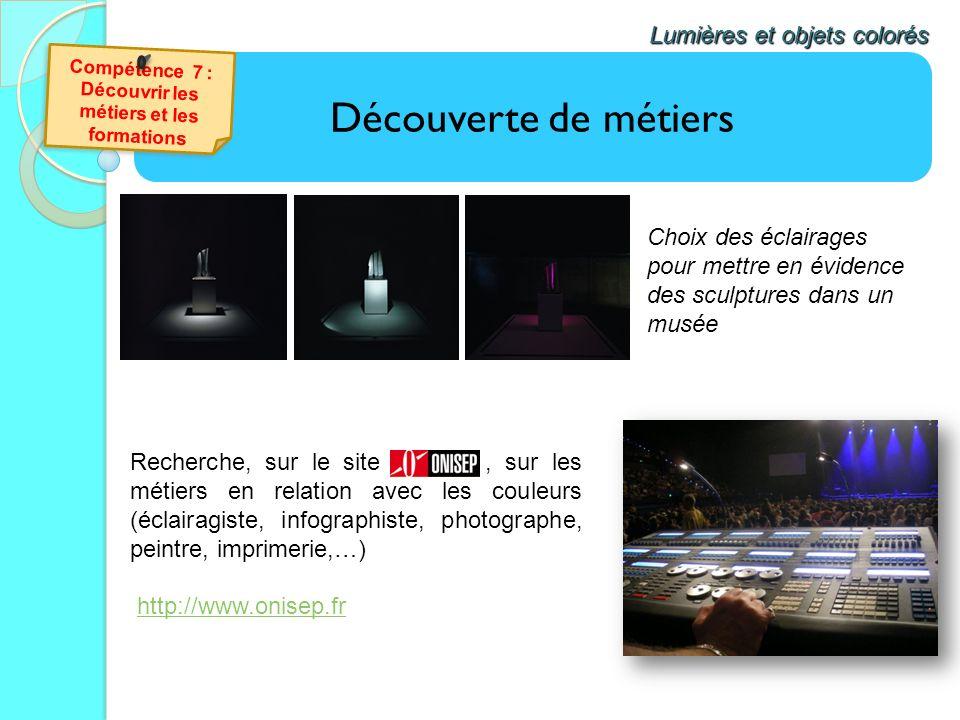 Découverte de métiers Lumières et objets colorés Recherche, sur le site, sur les métiers en relation avec les couleurs (éclairagiste, infographiste, p
