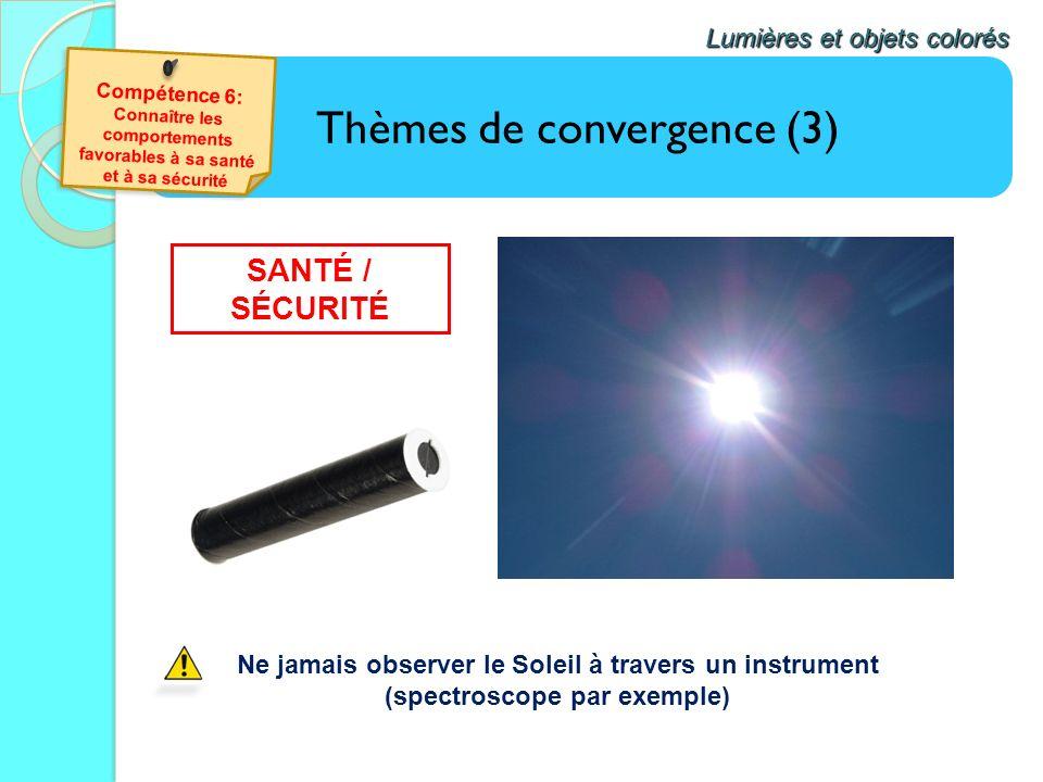 Thèmes de convergence (3) Lumières et objets colorés Ne jamais observer le Soleil à travers un instrument (spectroscope par exemple) SANTÉ / SÉCURITÉ