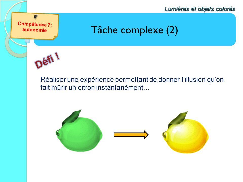 Tâche complexe (2) Lumières et objets colorés Réaliser une expérience permettant de donner lillusion quon fait mûrir un citron instantanément…
